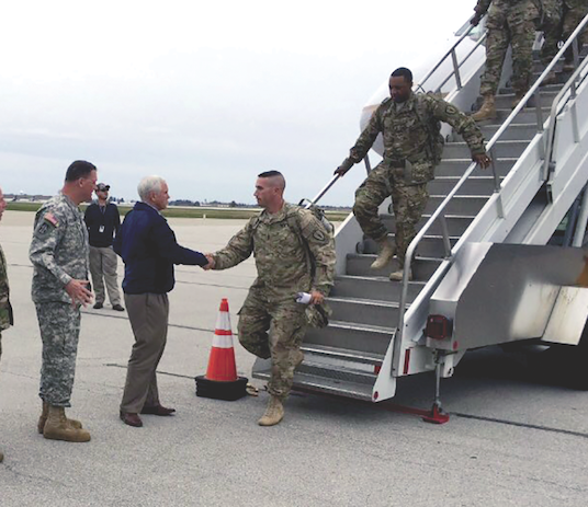 Gov. Pence welcomes military